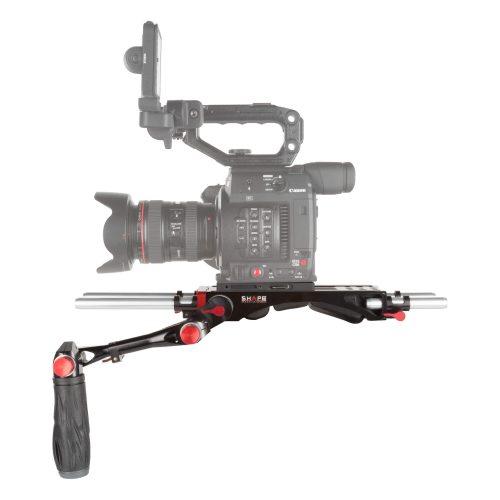 Schulter-Rig für die Canon C200 inklusive Baseplate, Teleskopgriff und zwei Paar 15mm Rods