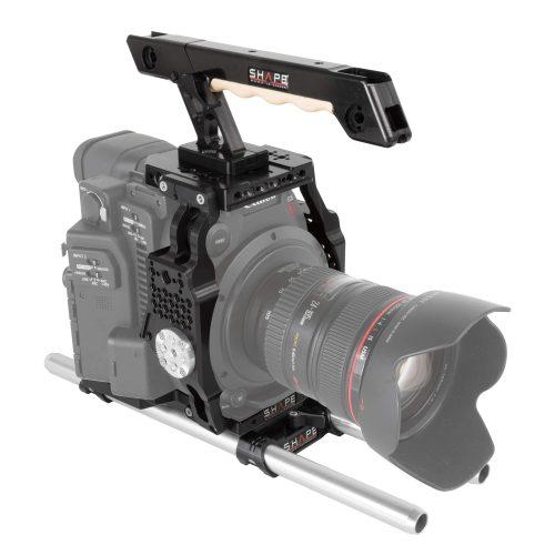 Kamera Cage für die Canon C200 inklusive Top Plate, Top Handle, Adapterplatte, Baseplate und Rods