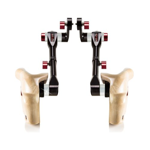Double telescopic wooden handle grip Arri rosette