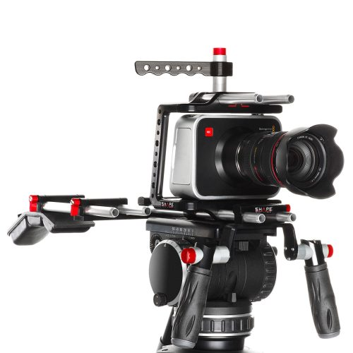 Kameragecage für die BlackMagic Cinema inklusive Top Handle, Quick Handles mit Rod Bloc, Mini Schulterpad, Offset-Bracket und 15mm Rods