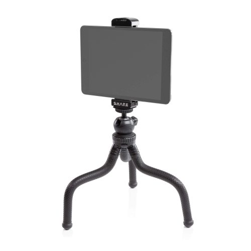 Tablet aluminum mount and tripod flexible grip with ball head