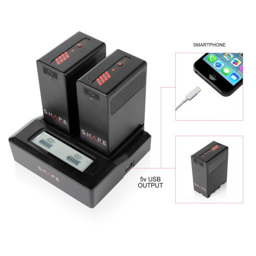 SHAPE BP-U65 lithium-ion two batteries with dual LCD charger