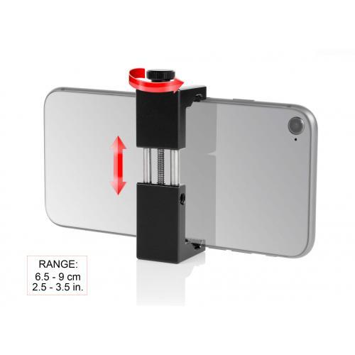 """Abrazadera de aluminio para """"smartphone"""" con montura zapata (cold shoe)"""