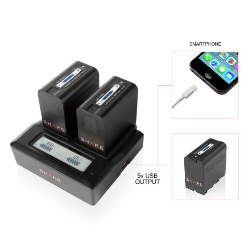 2 Batteries NP-F980 lithium-ion avec chargeur double LCD