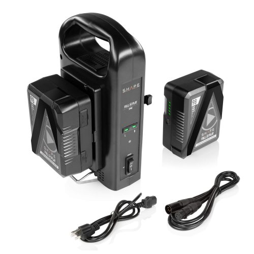 2 Batteries V-Mount 98 Wh 14.8 V SHAPE FULL PLAY lithium-ion avec chargeur double intelligent