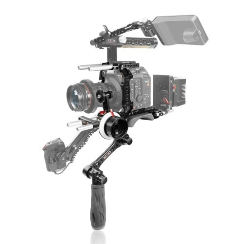 Canon C500 Mark II baseplate with handle, cage, follow focus pro
