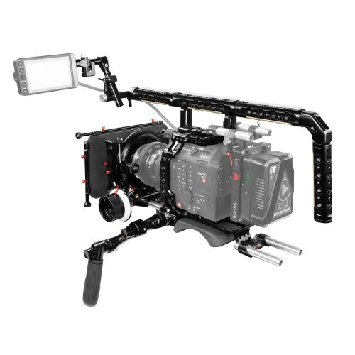Canon C500 Mark II, C300 Mark III baseplate with cage, top handle long VF, 4×5.6 matte box, follow focus pro