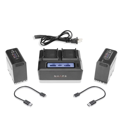 SHAPE BP-975 two batteries with dual LCD charger for Canon and RED® KOMODO™